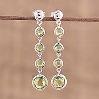 Rhodium plated peridot dangle earrings, 'Dancing Green Orbs' - Handmade Rhodium Plated Peridot Dangle Earrings India