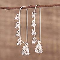 Sterling silver dangle earrings, 'Radiant Chimes' - Hand Crafted Sterling Silver Dangle Earrings from India