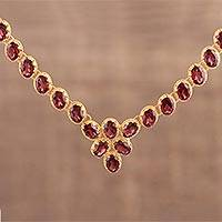 Garnet vermeil link necklace, 'Cherry Garland' - Gold Vermeil and Garnet Link Necklace Handcrafted in India