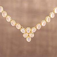 Gold vermeil moonstone link necklace, 'Misty Garland' - Gold Vermeil Moonstone Necklace Handcrafted in India