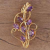 Gold plated amethyst brooch, 'Golden Lilac' - 22k Gold Plated 7 Carat Amethyst Handcrafted Lilac Brooch