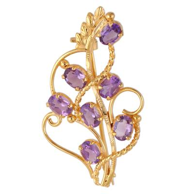 22k Gold Plated 7 Carat Amethyst Handcrafted Lilac Brooch