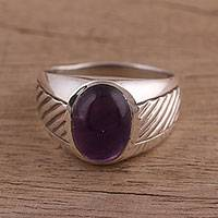 Men's amethyst domed ring, 'Suave' - Men's Handmade Amethyst and Sterling Silver Domed Ring