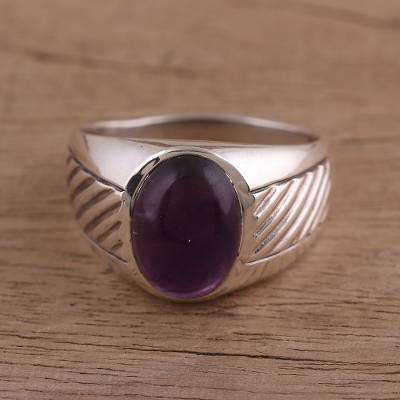 Amethyst domed ring, 'Suave' - Handmade Amethyst and Sterling Silver Domed Ring