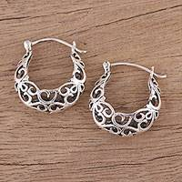 Sterling silver hoop earrings, 'Jali Grace' - Handmade Sterling Silver Hoop Earrings with Jali Motif