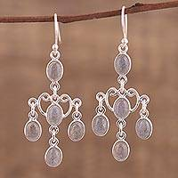 Labradorite chandelier earrings, 'Majestic Cascade' - Oval Labradorite Chandelier Earrings from India