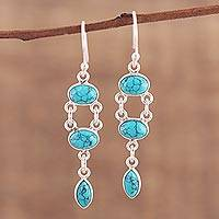 Sterling silver dangle earrings, 'Oceanic Bliss' - Handcrafted Composite Turquoise Dangle Earrings from India