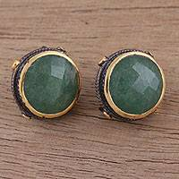 Gold accented aventurine button earrings,