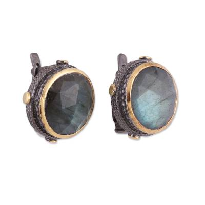 Gold Accent Labradorite and Sterling Silver Button Earrings