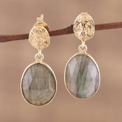 Vermeil labradorite dangle earrings, Dazzling Delight