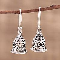 Sterling silver dangle earrings, 'Jali Bell' - Hand Crafted Sterling Silver Dangle Earrings with Jali Motif