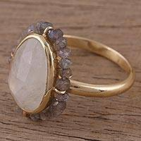 Gold vermeil rainbow moonstone and labradorite cocktail ring, 'Desert Oasis' - Gold Vermeil Rainbow Moonstone and Labradorite Cocktail Ring