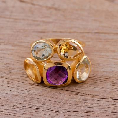 earrings judith viorst read aloud - Amethyst Citrine and Blue Topaz Gold Vermeil Cocktail Ring