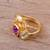 Vermeil multi-gemstone cocktail ring, 'The Five Allures' - Amethyst Citrine and Blue Topaz Gold Vermeil Cocktail Ring (image 2b) thumbail