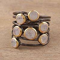 Gold accent rainbow moonstone cocktail ring, 'Dew Drops' - Gold Plated Sterling Silver Rainbow Moonstone Cocktail Ring