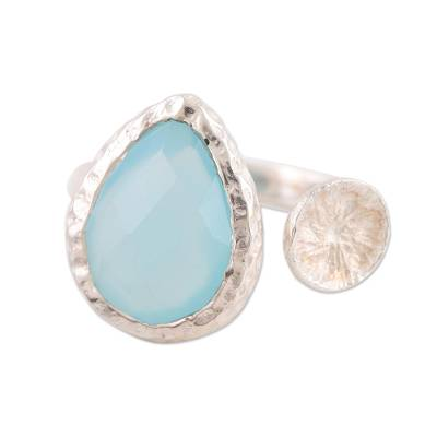 Chalcedony wrap ring, 'Glacial Desire' - Blue Chalcedony Sterling Silver Wrap Ring from India