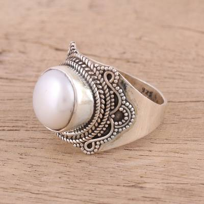 Cultured pearl cocktail ring, 'Pearl Glamour' - Cultured Freshwater Pearl and Sterling Silver Cocktail Ring