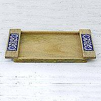 Wood and ceramic tray, 'Floral Allure' - Wood Tray with Floral Ceramic Tiles Handmade in India