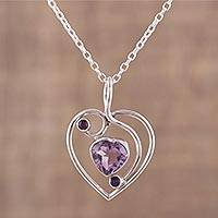 Amethyst pendant necklace, 'Precious Heart' - Hand Crafted Amethyst and Sterling Silver Pendant Necklace