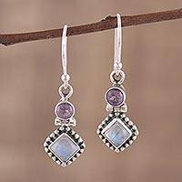 Featured review for Rainbow moonstone and amethyst dangle earrings, Enchanting Duo