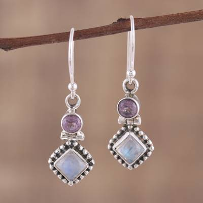 Rainbow moonstone and amethyst dangle earrings, 'Enchanting Duo' - Handmade Multi-Gemstone Sterling Silver Dangle Earrings