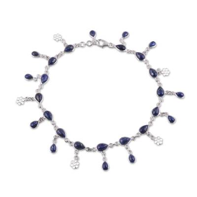 Handmade Lapis Lazuli and Sterling Silver Anklet from India