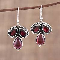 Garnet dangle earrings, 'Droplet Trios' - Garnet and Sterling Silver Dangle Earrings from India