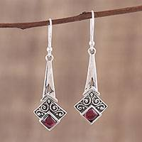 Garnet dangle earrings, 'Timekeeper' - Garnet and Sterling Silver Dangle Earrings from India