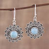 Larimar dangle earrings, 'Floral Lake' - Larimar and Sterling Silver Dangle Earrings from India