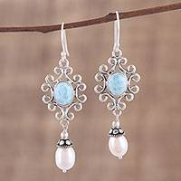 Cultured pearl and larimar dangle earrings, 'Glacial Splendor' - Cultured Freshwater Pearl and Larimar Dangle Earrings