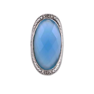 Sterling Silver Faceted Blue Chalcedony Floral Cocktail Ring