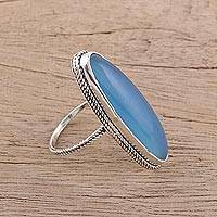 Chalcedony cocktail ring, 'Enigmatic Beauty' - 925 Sterling Silver Oval Blue Chalcedony Cocktail Ring