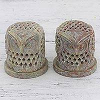 Soapstone tealight candle holders, 'Up Owl Night' (pair) - Hand Carved Soapstone Owl Tealight Candle Holders (Pair)