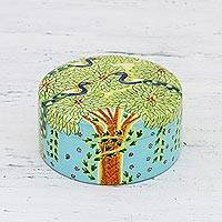 Wood decorative box, 'Monsoon Delight' - Hand Crafted Wood Decorative Box from India