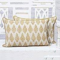 Cotton cushion covers, 'Antique Delight' (pair) - Handmade 100% Cotton Block Printed Cushion Covers Pair