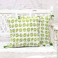 Cotton cushion covers, 'Forest Swirls' (pair) - 100% Cotton Green and White Print Cushion Covers (Pair)