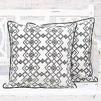 Cotton cushion covers, 'Fascinating Geometry' (pair) - Handmade 100% Cotton Geometric Cushion Covers Pair