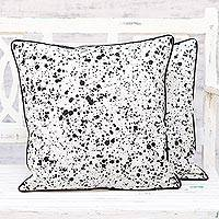Cotton cushion covers, 'Spotted White' (pair) - Splash Motif Black and White Cotton Cushion Covers (Pair)