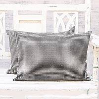 Cotton cushion covers, 'Mystic Flair' (pair) - Two Black and White Modern Print Rectangular Cushion Covers