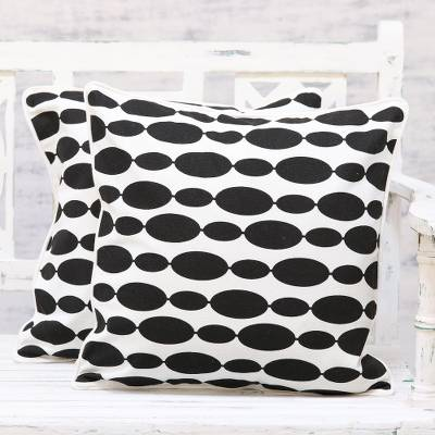 Cotton cushion covers, 'Elliptical Beauty' (pair) - Set of 2 Modern Black and White Print Cotton Cushion Covers
