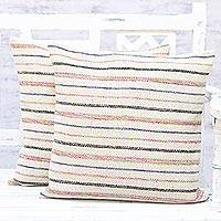Cushion covers, 'Elegant Contour' (pair) - Pair of Handmade Multicolored Striped Cushion Covers