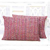 Cushion covers, 'Rainbow Static' (pair) - Pair of Handmade Cushion Covers Made in India