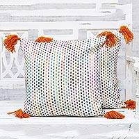 Cotton cushion covers, 'Vibrant Beauty' (pair) - Two Colorful Cotton Cushion Covers with Geometric Embroidery