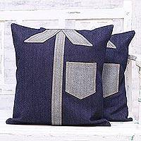 Denim cushion covers, 'Denim Shirts' (pair) - Two Patchwork Shirt Motif Denim Cushion Covers from India