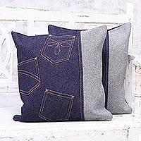 Denim cushion covers, 'Denim Pockets' (pair) - Two Handcrafted Patchwork Denim Cushion Covers from India