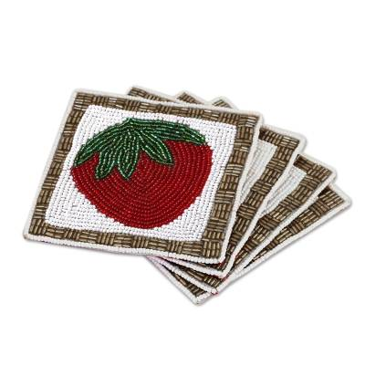 Set of Four Glass Beaded Strawberry Coasters from India