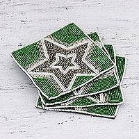 Glass beaded coasters, 'Dazzling Star' (set of 4) - Glass Beaded Coasters with Star Motif (Set of 4)