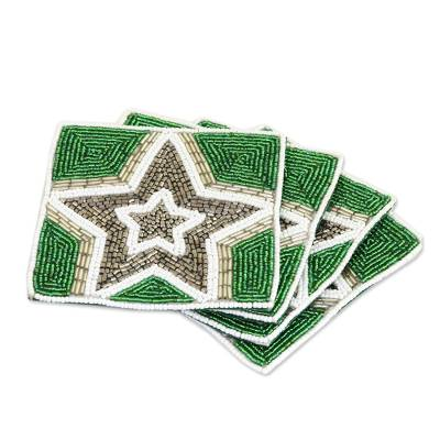 Glass Beaded Coasters with Star Motif (Set of 4)