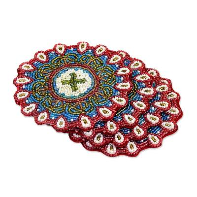 Set of Four Glass Beaded Coasters from India