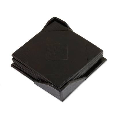 Black Square Leather Coasters from India (Set of 4)